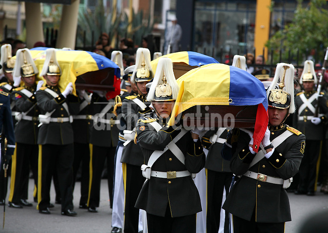 funeral of Minister od Deffence of Ecuador, after a tragic death in an helicopter crash in Manta Ecuador last nigth. The Mass was given on the Military School in Quit Ecuador in Presence of Family , friends and members of the new goverment.