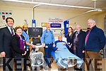 : <br /> <br /> <br /> <br />  At the presentation of the new Cardaic machine to UHK on Wednesday L-r: Declan Dowling (Manager Kingdom Greyhound Stadium) Kay Karim,Binu Nair (senior cardiac Physiologist,Mr Loiuis Keary ( Senior Consulton Heart Surgeon),Teddy Cronin (Friends UHK)  Natasha Daly (Chief Cardiac Physiolegist) Liam Brassil and PJ Hayes (friends UHK).