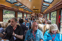 Peru.  Passengers on Executive Class Inca Rail Train, Ollantaytambo to Machu Picchu.