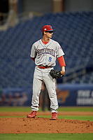Clearwater Threshers relief pitcher Austin Ross (8) during a Florida State League game against the Dunedin Blue Jays on April 4, 2019 at Spectrum Field in Clearwater, Florida.  Dunedin defeated Clearwater 11-1.  (Mike Janes/Four Seam Images)