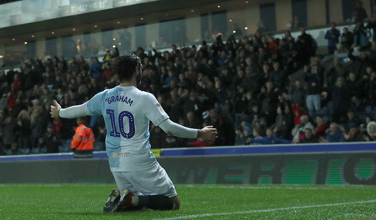 Blackburn Rovers' Danny Graham celebrates scoring his side's third goal <br /> <br /> Photographer Rachel Holborn/CameraSport<br /> <br /> The EFL Sky Bet Championship - Blackburn Rovers v Sheffield Wednesday - Saturday 1st December 2018 - Ewood Park - Blackburn<br /> <br /> World Copyright &copy; 2018 CameraSport. All rights reserved. 43 Linden Ave. Countesthorpe. Leicester. England. LE8 5PG - Tel: +44 (0) 116 277 4147 - admin@camerasport.com - www.camerasport.com