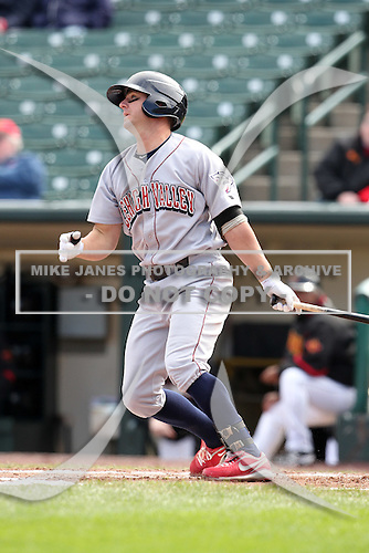 Lehigh Valley Ironpigs shorstop Kevin Frandsen #3 at bat during the second game of a double header against the Rochester Red Wings at Frontier Field on April 14, 2011 in Rochester, New York.  Lehigh Valley defeated Rochester 5-3 in extra innings.  Photo By Mike Janes/Four Seam Images