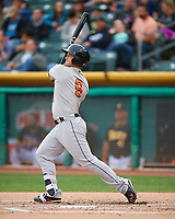 Preston Tucker (9) of the Fresno Grizzlies follows through on his swing against the Salt Lake Bees during the Pacific Coast League game at Smith's Ballpark on April 17, 2017 in Salt Lake City, Utah. The Bees defeated the Grizzlies 6-2. (Stephen Smith/Four Seam Images)