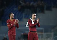 Football Soccer: UEFA Europa League round of 32 first leg AS Roma vs KAA Gent, Olympic stadium, Rome, 20 February, 2020.<br /> Roma's captain Edin Dzeko (r) and Chris Smalling (l) celebrate after winning 1-0 the Europa League football match between Roma and Gent at the Olympic stadium in Rome on 20 February, 2020.<br /> UPDATE IMAGES PRESS/Isabella Bonotto