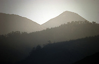 Long shot of forests and hills, Tenerife, Canary Islands.