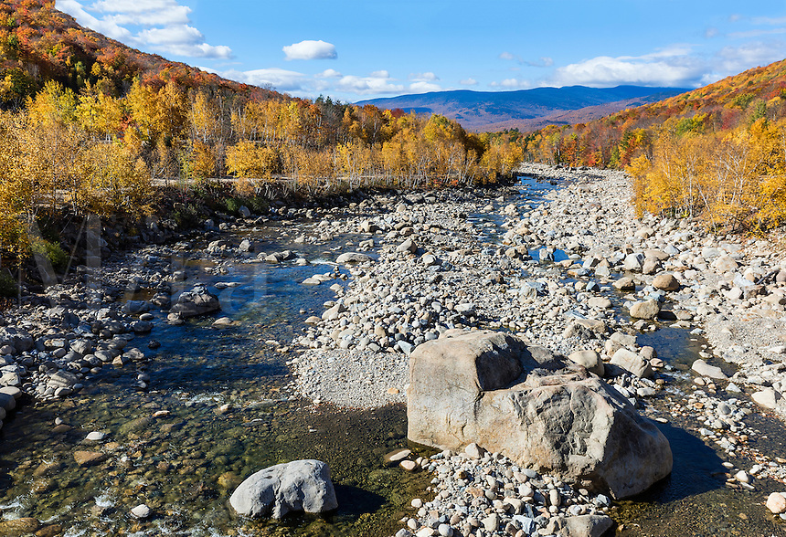 Autumn foliage and the Pemigewasset River,  Lincoln, New Hampshire