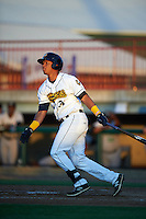 Burlington Bees designated hitter Steven Mateo (31) at bat during a game against the Clinton LumberKings on August 20, 2015 at Community Field in Burlington, Iowa.  Burlington defeated Clinton 3-2.  (Mike Janes/Four Seam Images)