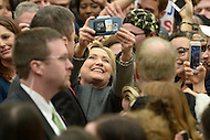 Fairfax, VA - February 29, 2016: Former U.S. Secretary of State and 2016 presidential candidate Hillary Clinton takes a selfie with a supporter during a campaign event at the George Mason University in Fairfax, VA, one day ahead of the Super Tuesday primaries, February 29, 2016.  (Photo by Don Baxter/Media Images International)
