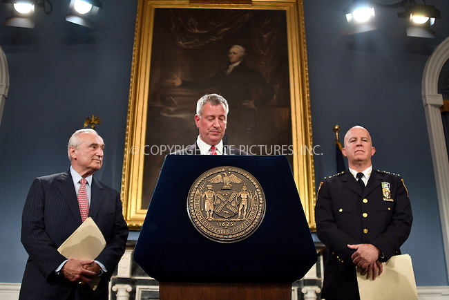 www.acepixs.com<br /> <br /> August 2 2016, New york City<br /> <br /> (L-R) New York City Police Commissioner Bill Bratton, Mayor Bill de Blasio and Chief of the New York City Police Department Department James O'Neill attending a news conference where it was announced that Bratton has resigned and will be succeeded by O'Neil as Police Commissioner on August 2, 2016 in New York City. <br /> <br /> <br /> By Line: Curtis Means/ACE Pictures<br /> <br /> <br /> ACE Pictures Inc<br /> Tel: 6467670430<br /> Email: info@acepixs.com<br /> www.acepixs.com