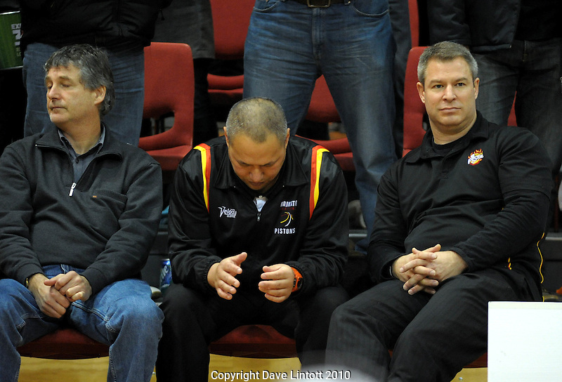 Waikato coach Dean Vickerman (left) and his coaching staff after the loss. NBL finals game three - Wellington Saints v Waikato Pistons at TSB Bank Arena, Wellington on Thursday, 1 July 2010. Photo: Dave Lintott/lintottphoto.co.nz