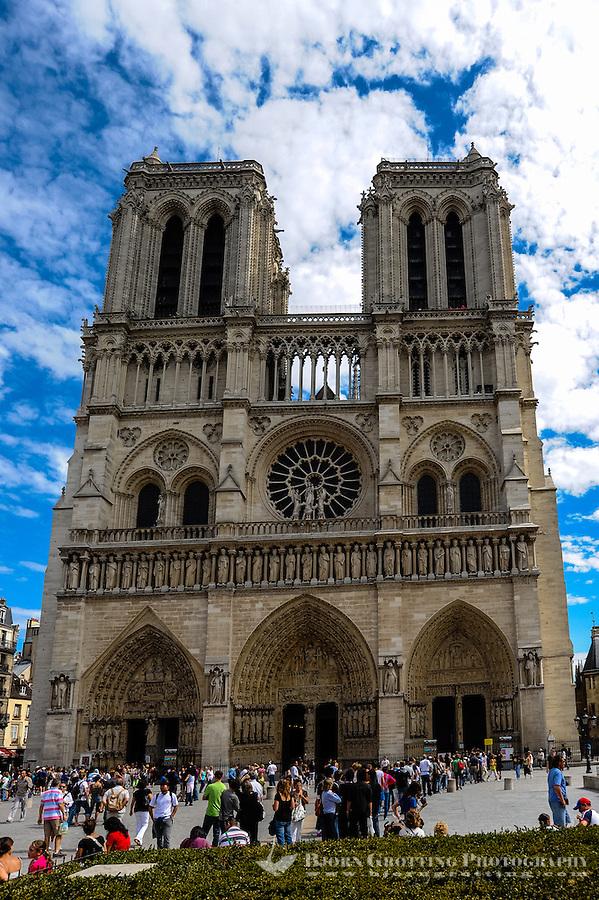 Paris, France. Notre Dame de Paris is a Gothic, Catholic cathedral on the Île de la Cité.