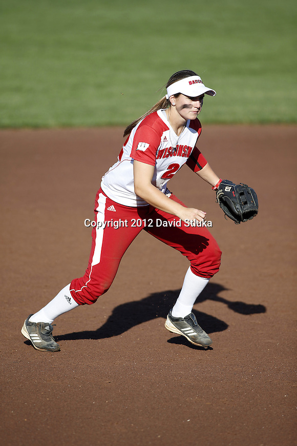 Wisconsin Badgers Stephanie Peace (22) during an NCAA women's softball game against the Green Bay Phoenix Saturday, September 29, 2012 in Madison, Wis. (Photo by David Stluka)