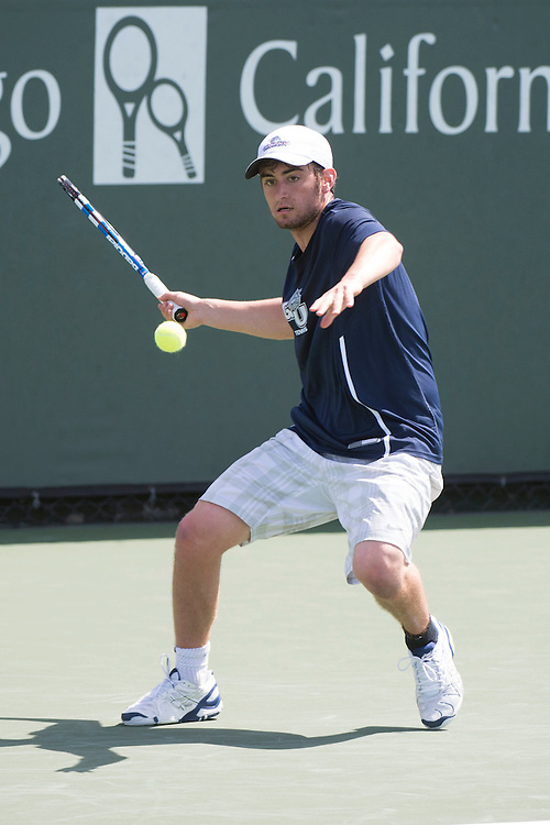 April 23, 2014; San Diego, CA, USA; Gonzaga Bulldogs player Nick Kamisar during the WCC Tennis Championships at Barnes Tennis Center.