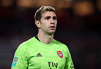 30th October 2019; Anfield, Liverpool, Merseyside, England; English Football League Cup, Carabao Cup, Liverpool versus Arsenal; Emiliano Martinez of Arsenal  - Strictly Editorial Use Only. No use with unauthorized audio, video, data, fixture lists, club/league logos or 'live' services. Online in-match use limited to 120 images, no video emulation. No use in betting, games or single club/league/player publications