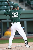 Third baseman Zach Iverson (32) of the Michigan State Spartans bats in a game against the Merrimack Warriors on Saturday, February 22, 2020, at Fluor Field at the West End in Greenville, South Carolina. Merrimack won, 7-5. (Tom Priddy/Four Seam Images)
