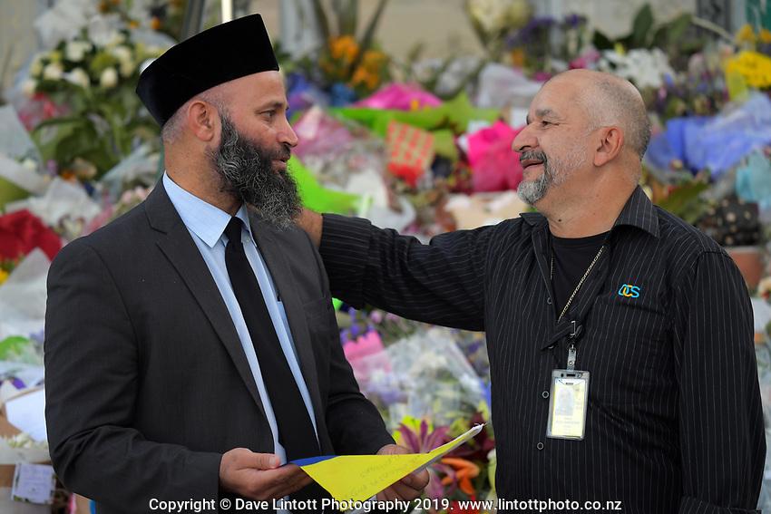 International Muslim Association of New Zealand president Tahir Nawaz with Jorge Meza Cardenas (right). Wellington Islamic Centre in Wellington, New Zealand on Tuesday, 19 March 2019. Photo: Dave Lintott / lintottphoto.co.nz