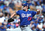 Los Angeles Dodgers' Clayton Kershaw pitches in a spring training game in Glendale, Ariz., on Saturday, March 19, 2016. <br />