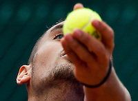 Paris, France, 25 June, 2016, Tennis, Roland Garros, Nick Kyrgios (AUS) serving in his match against Igor Sijsling (NED)<br /> Photo: Henk Koster/tennisimages.com