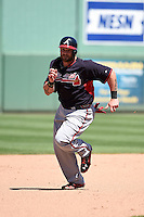 Atlanta Braves outfielder Jonny Gomes (7) during a Spring Training game against the Boston Red Sox on March 17, 2015 at JetBlue Park at Fenway South in Fort Myers, Florida.  Atlanta defeated Boston 11-3.  (Mike Janes/Four Seam Images)