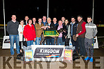 Andrew O'Neill, O'Neills Dog food,  presented to Des Grace  from the Very-Quiet Syn.  Killeacle Wayne winner of the O'Neill's Dog Food Stakes Final at the Kingdom Greyhound Stadium on Friday. Pictured Kieran Casey, Denise McAuliffe, Declan Dowling Jane Dowling, Padraig Lyons, Andrew O'Neill , Patrick Reidy, Des Grace, Liam Dowling Trainer, Padraig McCarthy, Lisa McAuliffe, Derrick Carroll Stephan Hanoran and John McAuliffe