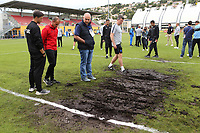 The match has been cancelled owing to the condition of one of the goalmouths. Players are back on the coach and heading to a different venue to play the game elsewhere during Guatemala Under-23 vs England Under-20, Tournoi Maurice Revello Football at Stade Marcel Cerdan on 11th June 2019