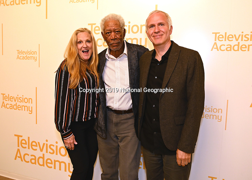 "LOS ANGELES - JUNE 5:  Lori McCreary, Morgan Freeman and James Younger attend an FYC event for National Geographic's ""The Story of God"" at the TV Academy on June 5, 2019 in Los Angeles, California. (Photo by Scott Kirkland/National Geographic/PictureGroup)"