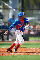 Jefferson De La Cruz (6) during the Dominican Prospect League Elite Florida Event at Pompano Beach Baseball Park on October 14, 2019 in Pompano beach, Florida.  (Mike Janes/Four Seam Images)