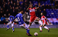 Adama Traore of Middlesbrough attempts to block a pass by Maxime Colin of Birmingham during the Sky Bet Championship match between Birmingham City and Middlesbrough at St Andrews, Birmingham, England on 6 March 2018. Photo by Bradley Collyer / PRiME Media Images.