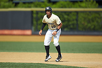 Christian Long (19) of the Wake Forest Demon Deacons takes his lead off of first base against the Virginia Cavaliers at David F. Couch Ballpark on May 19, 2018 in  Winston-Salem, North Carolina. The Demon Deacons defeated the Cavaliers 18-12. (Brian Westerholt/Four Seam Images)