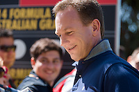 March 13, 2014: Christian Horner from the Infiniti Red Bull Racing team signs autographs at the 2014 Australian Formula One Grand Prix at Albert Park, Melbourne, Australia. Photo Sydney Low.