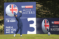 Matt Fitzpatrick (ENG) on the 3rd tee during Round 2 of the Sky Sports British Masters at Walton Heath Golf Club in Tadworth, Surrey, England on Friday 12th Oct 2018.<br /> Picture:  Thos Caffrey | Golffile<br /> <br /> All photo usage must carry mandatory copyright credit (&copy; Golffile | Thos Caffrey)