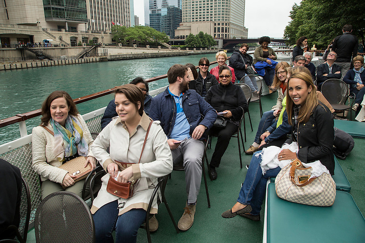 Members of DePaul University's Office of Public Relations and Communications during a Chicago Architecture Foundation river cruise Friday, June 5, 2015, along the Chicago River. (DePaul University/Jamie Moncrief)
