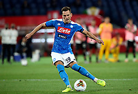 Napoli's Arkadiusz Milik kicks the decisive penalty during the shootout of the Italian Cup football final match between Napoli and Juventus at Rome's Olympic stadium, June 17, 2020. Napoli won 4-2 at the end of a penalty shootout following a scoreless draw.<br /> UPDATE IMAGES PRESS/Isabella Bonotto