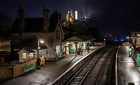 Lights, camera...traction! - Corfe Castle station.