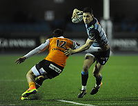 Cardiff Blues&rsquo; Tomos Williams evades the tackle of Toyota Cheetahs&rsquo; Nico Lee<br /> <br /> Photographer Kevin Barnes/CameraSport<br /> <br /> Guinness Pro14  Round 14 - Cardiff Blues v Toyota Cheetahs - Saturday 10th February 2018 - Cardiff Arms Park - Cardiff<br /> <br /> World Copyright &copy; 2018 CameraSport. All rights reserved. 43 Linden Ave. Countesthorpe. Leicester. England. LE8 5PG - Tel: +44 (0) 116 277 4147 - admin@camerasport.com - www.camerasport.com