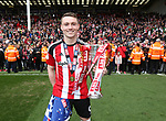 Sheffield United's Coalan Lavery celebrates with the trophy during the League One match at Bramall Lane, Sheffield. Picture date: April 30th, 2017. Pic David Klein/Sportimage