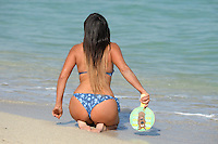 www.acepixs.com<br /> <br /> February 1 2017, Miami, FL<br /> <br /> Star of French Reality show Secret Story 9 and winner of the brunette girl of the year 2016 for Playboy Italy Claudia Romani wears a blue bikini and plays witha Scooby-Doo bat on the beach on February 1 2017 in Miami, Fl. Italian model Claudia Romani has appeared on cmagazine covers such as GQ and Maxim, and once was voted one of the 100 Sexiest Women in the World by FHM Denmark.<br /> <br /> By Line: Solar/ACE Pictures<br /> <br /> ACE Pictures Inc<br /> Tel: 6467670430<br /> Email: info@acepixs.com<br /> www.acepixs.com