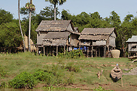 Mekong River<br /> , Cambodia - 2007 File Photo -<br /> <br />  fishing village huts.    <br /> <br /> <br /> <br /> <br /> photo : James Wong-  Images Distribution