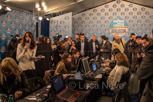 15:20 - Media Center PDL (Popolo della Libert&aacute;). <br /> <br /> Rome, 25/02/2013. Reportage covering the second day of the Italian General Election, including the campaign HQ's of the Rivoluzione Civile - Antonio Ingroia, the PDL (Popolo della Libert&aacute;) - Silvio Berlusconi, and the Scelta Civile - Mario Monti.