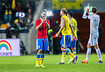 Solna 2014-10-12 Fotboll EM-kval , Sverige - Liechtenstein :  <br /> Sveriges Jimmy Durmaz tackar publiken efter matchen mellan Sverige och Liechtenstein <br /> (Photo: Kenta J&ouml;nsson) Keywords:  Sweden Sverige Friends Arena EM Kval EM-kval UEFA Euro European 2016 Qualifying Group Grupp G Liechtenstein jubel gl&auml;dje lycka glad happy
