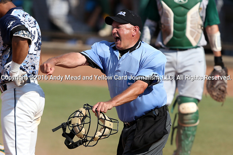 02 June 2016: Home plate umpire Darryn Fredrickson calls Nova Southeastern's Daniel Zardon (not pictured) out at home plate. The Nova Southeastern University Sharks played the Cal Poly Pomona Broncos in Game 11 of the 2016 NCAA Division II College World Series  at Coleman Field at the USA Baseball National Training Complex in Cary, North Carolina. Nova Southeastern won the semifinal game 4-1 and advanced to the championship series.