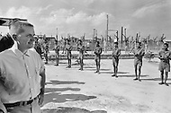 Bien Hoa, Vietnam. April 1970. Businessman Ross Perot, founder of Electronic Data Systems, Inc., visits a Prisoners of War camp in Bien Hoa, South Vietnam. He was appointed by United States Secretary of the Navy John Warner to report on the conditions of Americans in Vietnamese and Laotian POW camps for four years, until the prisoners were released in 1972 at the end of the Vietnam War.