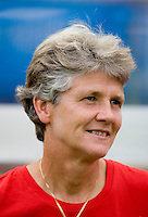 USWNT head coach Pia Sundhage watches her team take the field while playing at Qinhuangdao Stadium. The US defeated Japan, 1-0, during first round play at the 2008 Beijing Olympics in Qinhuangdao, China.