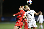 SALEM, VA - DECEMBER 3:Megan Renken (5) and Missy Biener (23) go for a header during theDivision III Women's Soccer Championship held at Kerr Stadium on December 3, 2016 in Salem, Virginia. Washington St Louis defeated Messiah 5-4 in PKs for the national title. (Photo by Kelsey Grant/NCAA Photos)