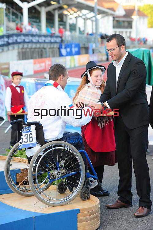 IPC European Athletics Championship 2014<br /> Swansea University<br /> <br /> Medal ceremony: Men's shot put F33.<br /> <br /> 22.08.14<br /> Chris Vaughan-SPORTINGWALES
