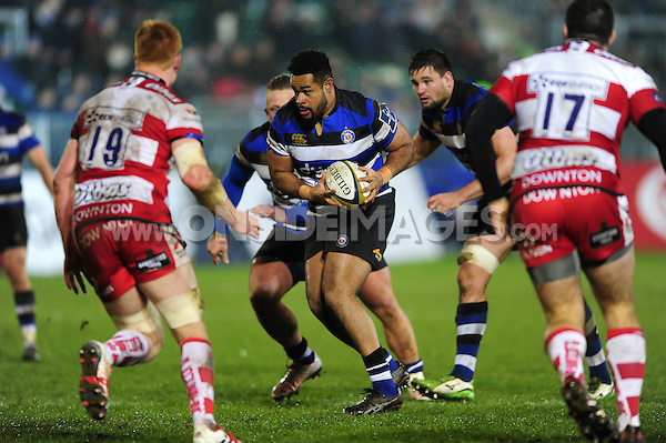 Darryl Marfo of Bath Rugby in possession. Anglo-Welsh Cup match, between Bath Rugby and Gloucester Rugby on January 27, 2017 at the Recreation Ground in Bath, England. Photo by: Patrick Khachfe / Onside Images