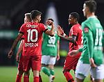 Jubel 1:4: Kerem Demirbay (Leverkusen)/l.  jubelt mit Leon Bailey (Leverkusen).<br /><br />Sport: Fussball: 1. Bundesliga: Saison 19/20: 26. Spieltag: SV Werder Bremen - Bayer 04 Leverkusen, 18.05.2020<br /><br />Foto: Marvin Ibo GŸngšr/GES /Pool / via gumzmedia / nordphoto