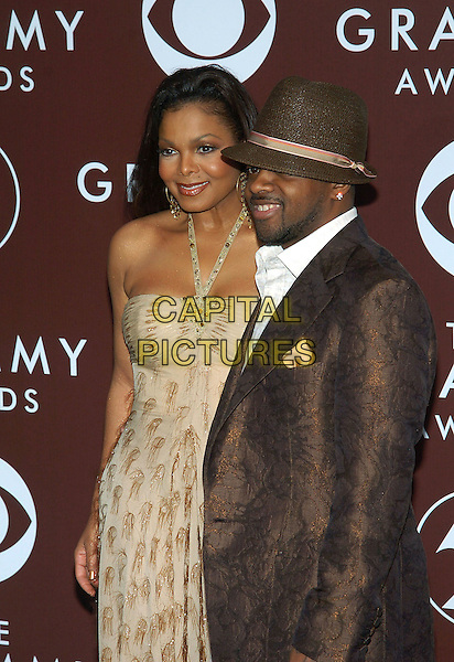 JANET JACKSON & JERMAINE DUPRI.47th Annual Grammy Awards - Arrivals. Los Angeles, California .February 13th, 2005.Photo Credit: Jacqui Wong/AdMedia.half length strapless beige brown gold dress brown suit jacket hat .www.capitalpictures.com.sales@capitalpictures.com.© Capital Pictures.