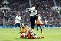 1st March 2020; Tottenham Hotspur Stadium, London, England; English Premier League Football, Tottenham Hotspur versus Wolverhampton Wanderers; Rúben Vinagre of Wolverhampton Wanderers tackles Serge Aurier of Tottenham Hotspur