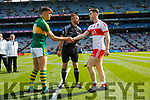 Captains David Clifford Kerry and Padraig McGrogan Derry with Referee Athony Nolan, Kerry v Derry in the All-Ireland Minor Footballl Final in Croke Park on Sunday.